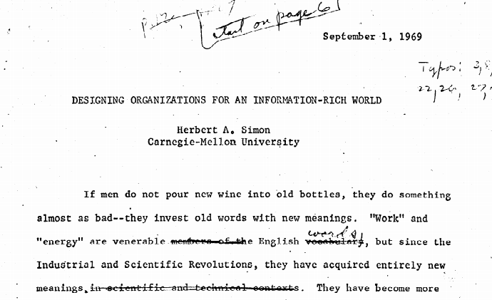 Designing Organizations For An Information Rich World 1969